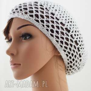 hand-made czapki siatka plażowa biała, czapka