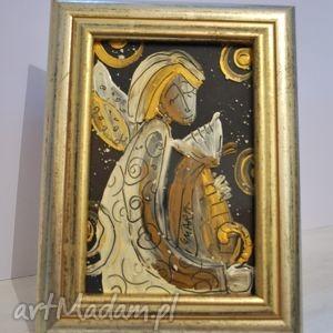 hand-made pomysł na upominki na święta obraz na szkle. anioł z kotkiem