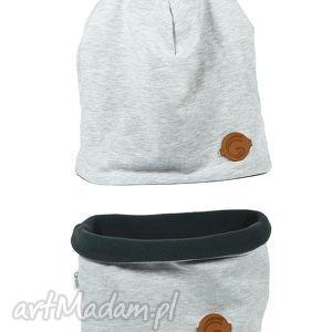 ręcznie robione czapka i komin ciepły komplet szary