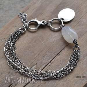 Bransoletka z kamieniem księżycowym i łańcuszkami, srebro, kamień, księżycowy