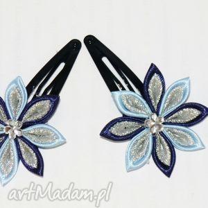 handmade ozdoby do włosów spinki z kwiatuszkami