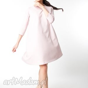 handmade sukienki l/xl sukienka typu klosz wiosenna pudrowy róż