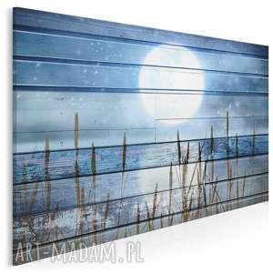 obraz na płótnie - księżyc noc deski rustykalny 120x80 cm 81001