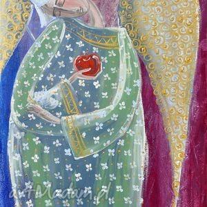obrazy anioł z jabłkiem
