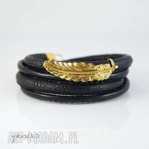złote piórko - bransoletka owijana, bransoletka, piórko, rzemienie, elegancka
