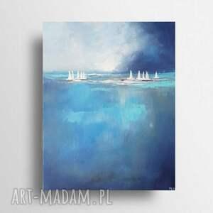 paulina lebida łodzie-obraz akrylowy formatu 33/41 cm, obraz, akryl, nowoczesny