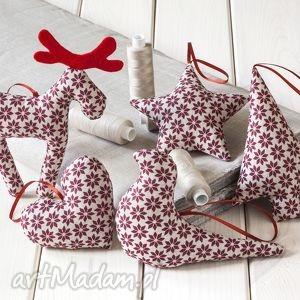 ozdoby świąteczne w bordowe gwiazdki,5 szt, święta, prezent, zawieszka, dekoracja