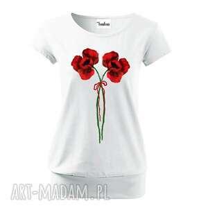 bluzki bawełniana malowana bluzka w maki, koszulka, bawełna, jersey