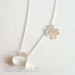 Naszyjnik serce i koniczynka na szczęście, łańcuszek, serduszko, koniczyna, srebro