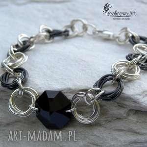 2272f9a8bed1b2 ... czar nocy, bransoleta, elegancka, ażurowa, srebro, swarovski,  świąteczny prezent