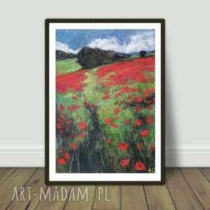 makowa łąka-praca wykonana pastelami suchymi, pejzaż, maki, łąka, pastele