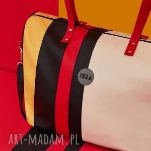 Weekendowa torba podróżna w paski podróżne pracownia mana duża