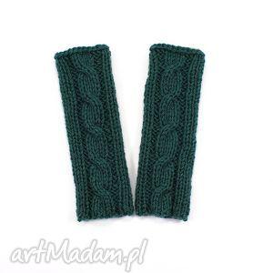 hand made rękawiczki mitenki z warkoczem dziergane ręcznie zieleń