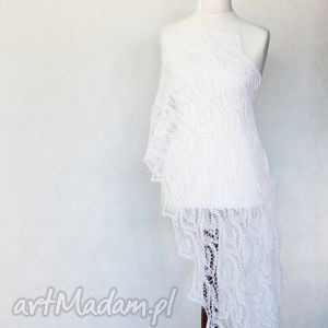 347 lub biały ślubny szal - szal, ażurowy, ślub