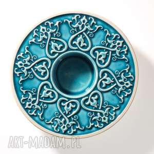 Prezent lampion OD SERCA turkusowy w pudełku, lampion, świecznik, ornament, dekoracja