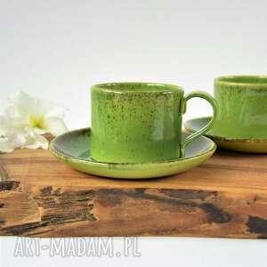 ręcznie lepiona filiżanka ceramiczna ze spodkiem - zestaw dla dwojga, ceramika