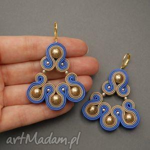 kolczyki sutasz, soutache, perełki, złote, niebieskie, eleganckie, brązowe, prezent