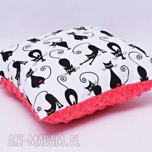 poduszka koty z czerwonym minky - poduszka, koty, kocia, minky, kociaki, serca