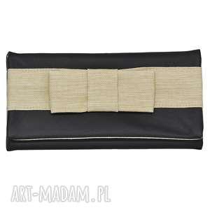 03-0024 czarna torebka kopertówka wieczorowa do ręki crow, torebki-kopertówki