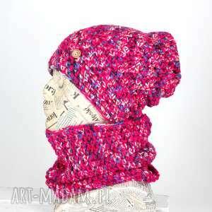 Czapka z kominem wełniana zestaw kolorowa czapki godeco czapka