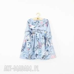 Sukienka blekitna w kwiaty, wiosenna, falbanka