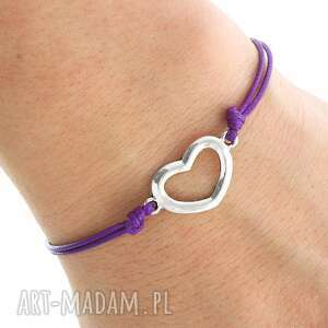 handmade bransoletki simply charm - violet twine with heart