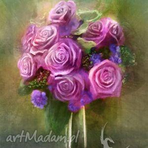 Obraz - Bukiet różowych róż płótno, obraz, kwiaty, róże, romantyczny, retro