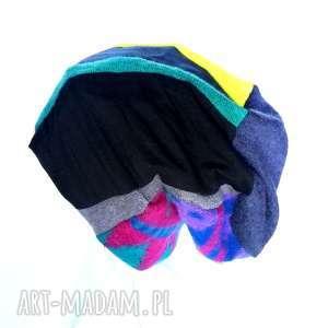 czapka damska patchwork dzianina boho wełna - czapka, etno, boho, folk, patchwork