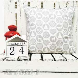 handmade upominek święta poduszka xmas thema - grey 40x40cm