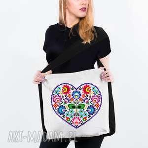 ea2aafdc9cbc8 hand-made na zakupy torebka torba eko z kieszenią serce łowieckie