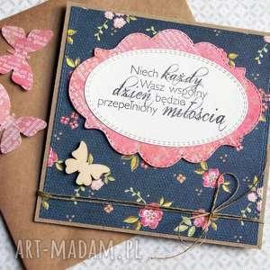 ręcznie wykonane kartki kartka ślubna: granat & koralowy róż