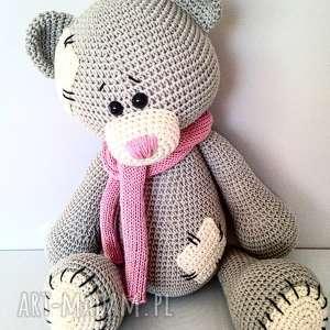 Szydełkowy duży miś Me To You - dla dziewczynki , babyshower, crochet, rekodzielo