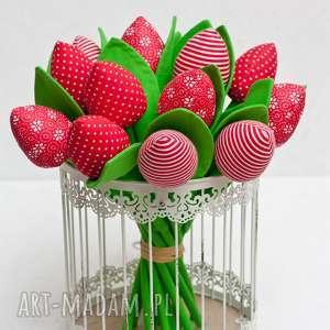 dekoracje tulipany - bukiet tulipanów czerwone 15 sztuk, tulipany