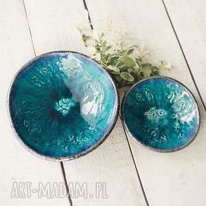 ceramika esy floresy turkusowe miski, ceramika, miska, komplet dom
