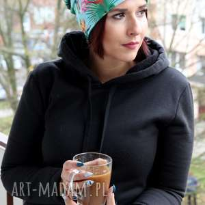 Ciepła czapka flaming zielona kolorowa unisex beanie, czapka, ciepła,