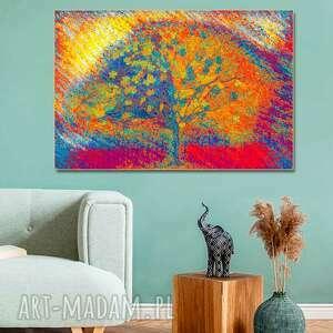 obraz na płótnie drzewo w jesiennym słońcu 120 x 80, nowoczesny