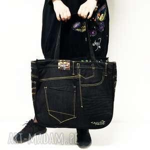 duża torba upcykling jeans 31 desigual od majunto, upcykling