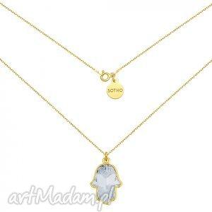 ręcznie wykonane naszyjniki złoty naszyjnik z kryształową ręką fatimy swarovski® crystal