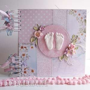 album ze stopami kwiatowy - album, dziewczynka, scrapbooking, pamiątka, chrzest
