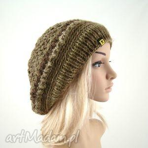beret ażurowy w beżo-brązach, beret, czapka, ażur, lekka, wiosna, cieniowana