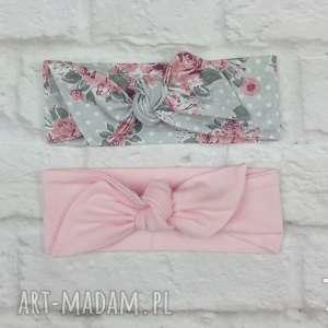 opaski pin up różowa i szare kropki z różami - wiązane