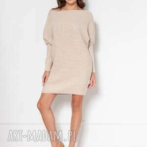 lanti urban fashion oversizeovy sweter-tunika, swe135 beż, tunika, do pracy