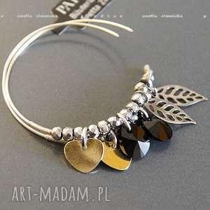 ręcznie wykonane kolczyki srebro, kolczyki złote serduszka & swarovski