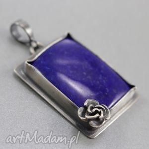 lapis lazuli i srebro - wisior, lapis, lazuli, kwiatek, oksydowany