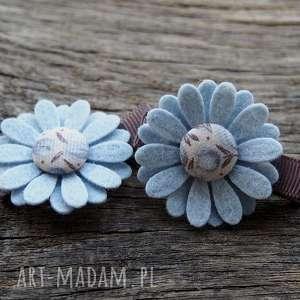 Spinki do włosów kwiatki BLUE, spinki, ozdoby, filc,