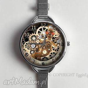 mechaniczna jaszczurka - zegarek z dużą tarczką 0957ws - zegarek, steampunk