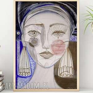 plakat a3 - dziewczyna i jezioro, plakat, wydruk, obraz, twarz, portret, kobieta