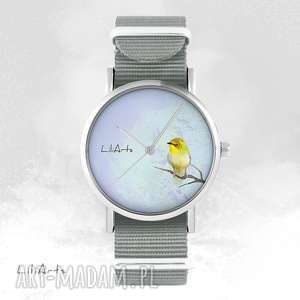 ręcznie wykonane zegarki zegarek, bransoletka - żółty ptaszek szary