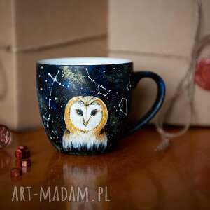 handmade kubki kubek ręcznie malowany - gwiezdna sowa
