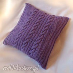 fioletowa poszewka z poduszką włóczki, poszewka, poduszka, włóczka, akryl dom